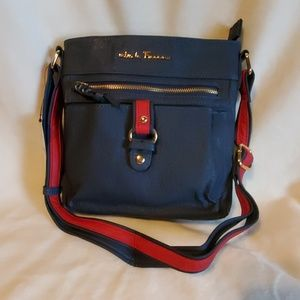 MKF Navy and Red Crossbody Vegan Leather Bag